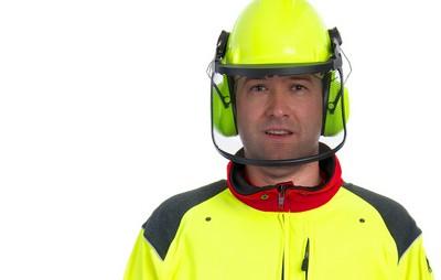 Kettensägen-Forst-Waldarbeiter-Forstarbeiter-Schutzhelm-Gehörschutz
